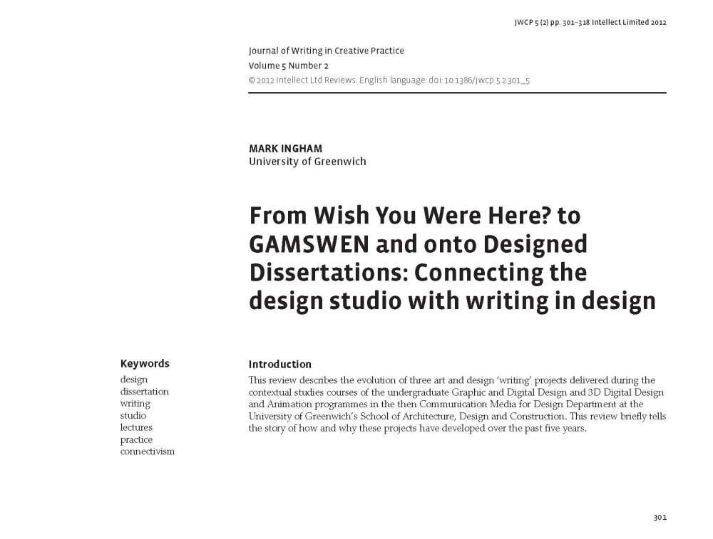 From Wish You Where Here? to GAMSWEN... (1/6)