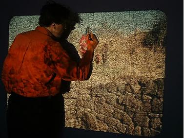 Mark Ingham drawing Ajanta. 2000